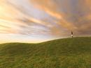 夕照の丘とビジネスマン