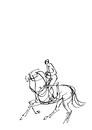 白地騎馬の線画