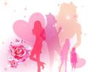 キラキラ背景の5人の女の子シルエット