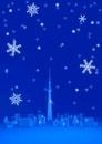 雪の中のスカイツリーと街