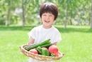 緑の中、採れたての野菜を抱える男の子