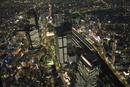 空撮:新しい名駅ビル郡の夜景