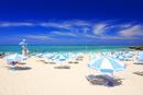 ビーチパラソルが並ぶビーチ