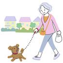 犬と散歩するシニア女性
