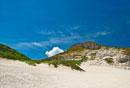 小笠原諸島南島 ヒロベソカタマイマイの化石群と砂浜