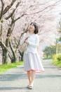 桜並木を歩く日本人女性
