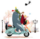 スクーター「ベスパ」に乗るプレゼントを持った女の子とクマと猫