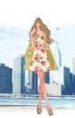東京湾をバックに立つ、ワンピースの女性