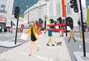 雪の降るロンドンの街を買い物して走る女性