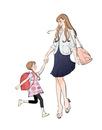 手をつないで歩くランドセルの女の子と働くママ