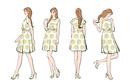 ワンピースを着た女性の様々なポーズ