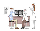 診察を受ける患者と医者と看護師