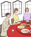 中華料理店で食事をする男性と女性