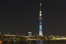 夜景東京スカイツリーライトアップ(七夕)と隅田川と桜橋