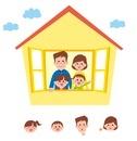 窓から顔を出す家族(父、母、姉、弟)