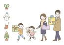 プレゼントを持つ家族(冬)・冬アイコン