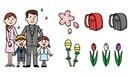 春の家族、入学式、ランドセル、桜、つくしんぼ、チューリップ