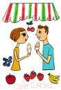 果物を背景にジェラートを食べる若いカップル