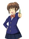 鉛筆を持ちポーズをとる女子学生