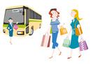 外国人観光客の日本観光 観光バスとお土産を買う