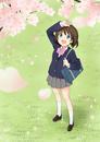 花びらが舞う桜を見上げる女子高校生