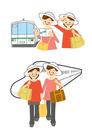 電車と新幹線で旅行する女性