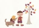 犬と少年と落ち葉