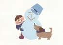 犬と少年と雪だるま