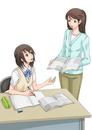 講習を受ける女子学生(背景なし)