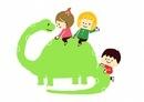 恐竜と子供たち 10468000235| 写真素材・ストックフォト・画像・イラスト素材|アマナイメージズ