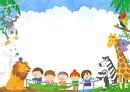 子どもたちと動物のフレーム 10468000256| 写真素材・ストックフォト・画像・イラスト素材|アマナイメージズ
