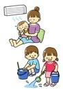 熱中症予防する赤ちゃんと打ち水をする子どもたち