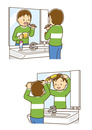 洗面所で歯みがきをする男の子、洗面所で髪をとかす男の子