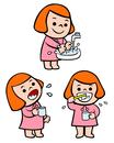 手を洗う子供、嗽ぐ子供、歯を磨く子供