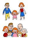 手を繋ぐ親子、ニッコリ笑う家族