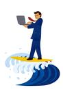 パソコンをしながらサーフィンをするビジネスマン