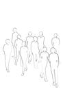 黒色の線画のビジネスマンの群衆のシルエット