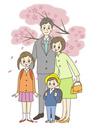 ランドセルを背負う子供と両親