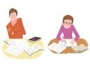 勉強する大学生の若者