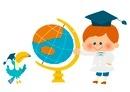 地球儀と小さい教授 10494000006| 写真素材・ストックフォト・画像・イラスト素材|アマナイメージズ