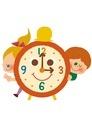 時計と女の子と男の子