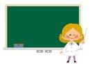 黒板と先生のフレームイラスト