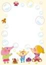 シャボン玉で遊ぶ女の子と動物のフレーム 10494000070| 写真素材・ストックフォト・画像・イラスト素材|アマナイメージズ