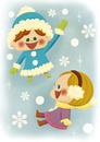雪の中で(背景あり) 10494000163| 写真素材・ストックフォト・画像・イラスト素材|アマナイメージズ