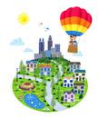 街イラスト/気球に乗った家族と街