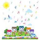 楽器を演奏する家族に人々が集う街