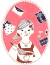 カレンダー 2月 バレンタインのチョコを作る女の子