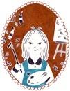 カレンダー 11月 油絵を描く女の子