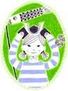 カレンダー 5月 子供の日の兜を被る女の子