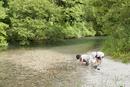 河原で遊ぶ子供
